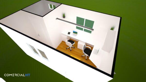 Plano Oficina Móvil 8x17 Comercial HT con Baño