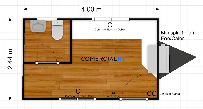 Plano Oficina Móvil 8x17 Modelo OM-8x17-3