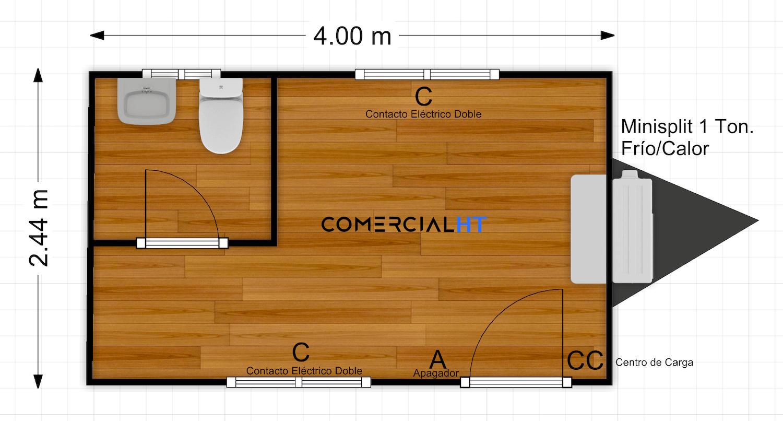 Plano Oficina Móvil 8x17 Modelo OM-8x17-2