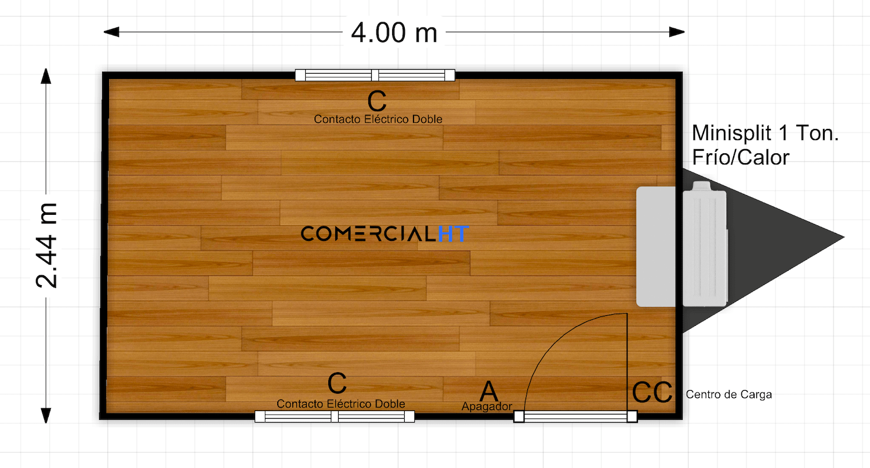 Plano Oficina Móvil 8x17 Modelo OM-8x17-1