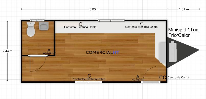 Oficina Móvil, Caseta Remolque 8x24